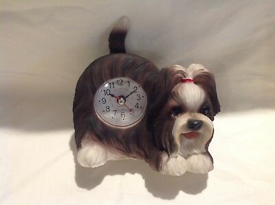 Faithful Friends Clock  SHIH TZU Tabletop Wagging Tail Puppy Dog