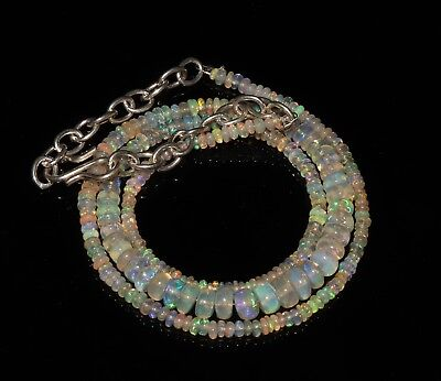 """31 Tcw 2-6 Mm 15""""natural Genuine Ethiopian Welo Fire Opal Beads Necklace-F31295"""