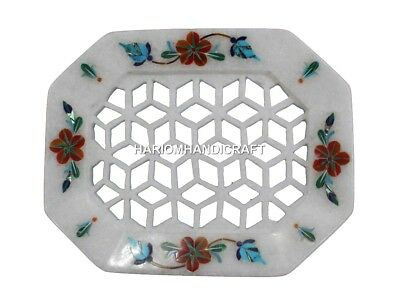 "4""x3""  White Marble Inlaid Bathroom Ceramics & Pottery Soap Dish Home Decor H558"