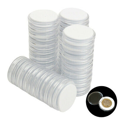 50x Coin Display Case Clear Round Plastic Storage Capsules Holder Collection New