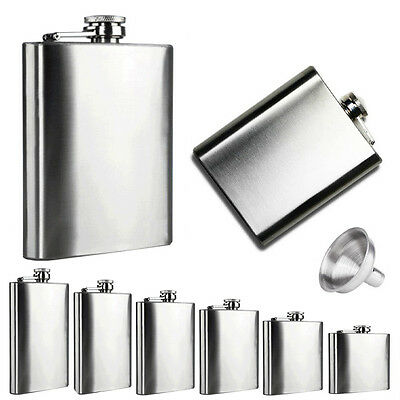 4 5 6 7 8 10 oz Stainless Steel Hip Liquor Alcohol Flask Cap + Funnel