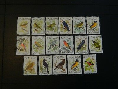 Malawi Stamps SG 789/804a complete set of 17 all GU issued 1988 Birds.