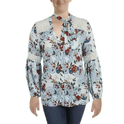ccaaa4a56ff Michel Studio Womens Lace Printed Long Sleeves Button-Down Top Blouse BHFO  1816