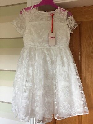 Beautiful Ivory/ off white, Ted Baker children's lace overlay dress Age 8-9.