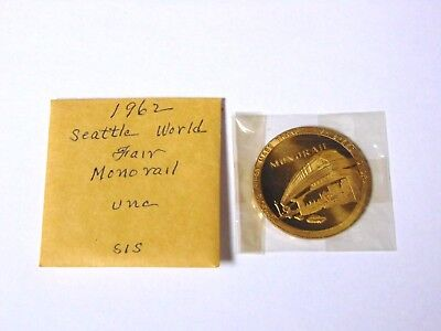 NM/Mint UNC 1962 Seattle Worlds Fair Official Medal Monorail Token Coin