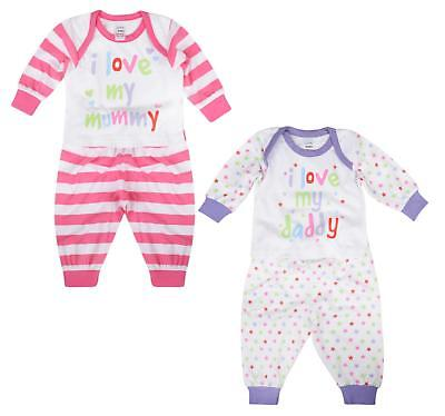 Baby Girls Pyjama Sets I Love My Mummy I Love My Daddy 0-9M Cotton Long Pj Set