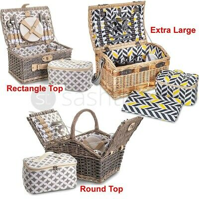LIVIVO 4 PERSON TRADITIONAL PICNIC WICKER HAMPER WILLOW BASKET w COOLER BAG