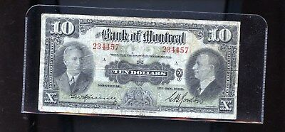 1938 Bank of Montreal $10 DCW17