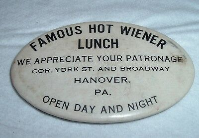 Antique Advertising Pocket Mirror Famous Hot Wiener Lunch Hanover PA