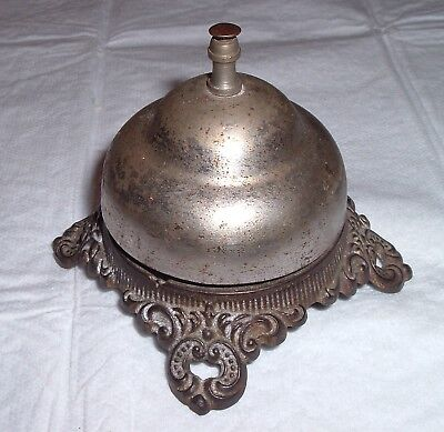 Antique Counter Top Store / Hotel Bell , Ornate Nickel Plated Victorian