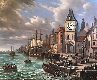 Huge 19Th Century French Clock Oil Painting - Busy Shipping Harbour & Port Scene
