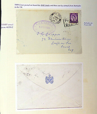 BARBADOS 1959 Posted on Board R.M.S. Andes to Essex As Described AH113