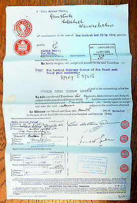 GB 1925 Transfer Document Re Enfield Cycle Company Folded XY63