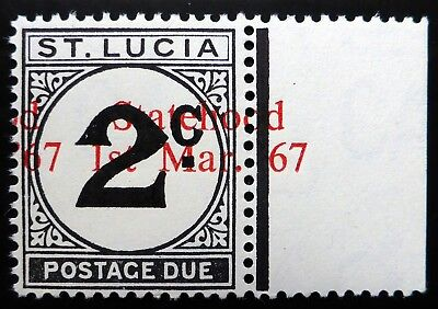 St LUCIA 1967 2c Postage Due with Massive Statehood Shift to the Right U/M BC708