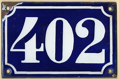 Old blue French house number 402 door gate plate plaque enamel metal sign c1900