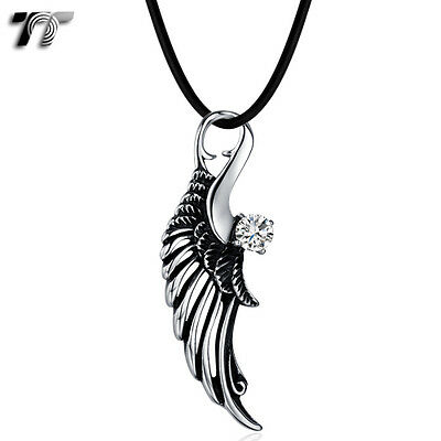Quality TT Stainless Steel Angel Wing Pendant Necklace Clear CZ (NP323) NEW