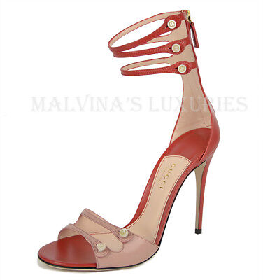a0ce25a4b06fc5  995 Gucci Shoes Leather Gladiator Gg Logo Mother Of Pearl Button Sandals  39.5