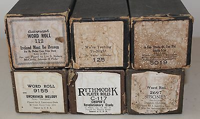 Lot of 6 Vintage Piano Rolls Rythmodik QRS Supertone #S95
