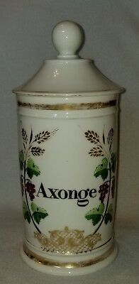 """19th Century French Porcelain Decorated Covered Apothecary Jar Axonge 10-3/4"""" h."""