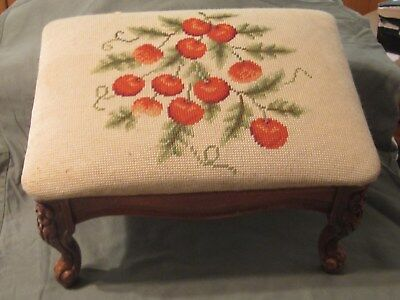 Vintage CHERRIES Needlepoint Footstool