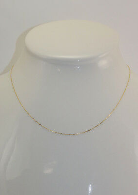 New 14K Polished Yellow Gold .9 mm 18 Inch Forz Link Pendant Chain Necklace