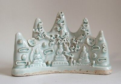 Fine antique Chinese 19th century Chinese pale celadon pottery brush rest