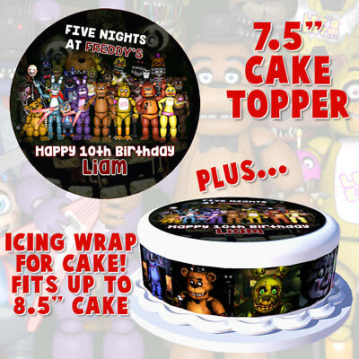 "Five Nights at Freddy's 7.5"" Cake Topper + Cake WRAP Rice Paper/Icing 24HR POST!"