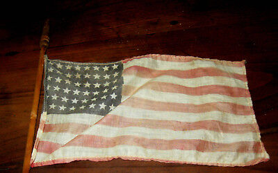 Awesome Small  Antique 48 Star American Flag W/ Finial In Old Paint Aafa Nr