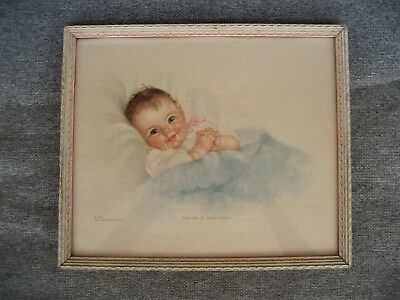 """Vintage """"take Me In Your Arms"""" Framed With Glass Baby Print By Charlotte Becker"""