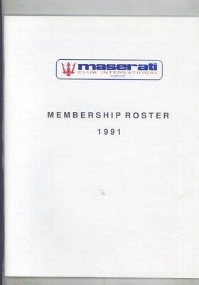 1991 Maserati Club International Membership Roster Brochure wz4214