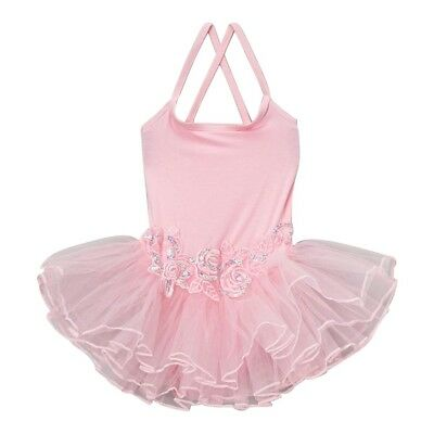 Wenchoice Little Girls Pink Flower Spaghetti Strap Ballet Dress 24M-8