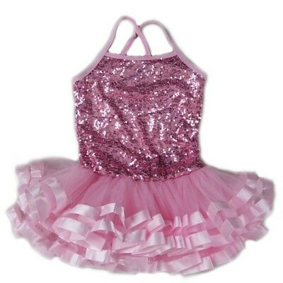 Wenchoice Little Girls Pink Sequins Cross Back Ribbon Ballet Dress 24M-8