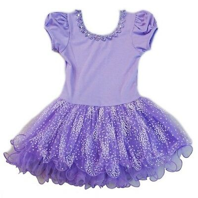 Wenchoice Little Girls Purple Stars Tutu Short Sleeve Ballet Dress 24M-8