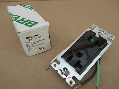 Bryant 20 Amp T83 Duplex Receptacle Hospital Grade with Pigtails