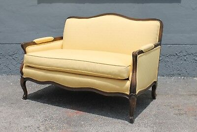 Traditional Carved Walnut Yellow Upholstered Canape