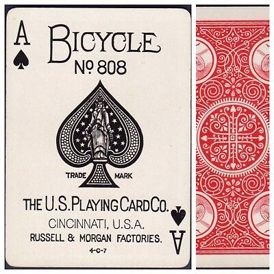 Playing Cards 1 Swap Card Antique BICYCLE 808 US8c ACE OF SPADES - EXPERT b