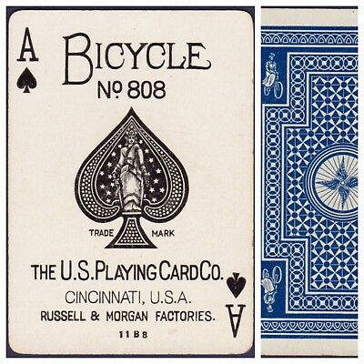 Playing Cards 1 Swap Card Antique BICYCLE 808 US8c ACE OF SPADES - CYCLIST No.2