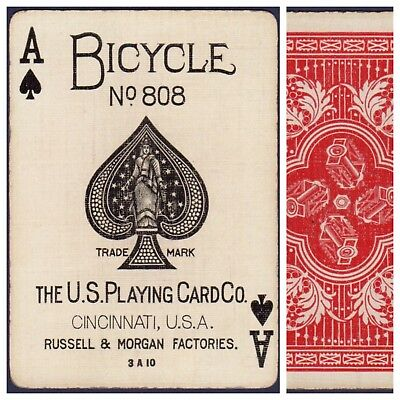 Playing Cards 1 Swap Card Antique BICYCLE 808 US8c ACE OF SPADES - PEDAL