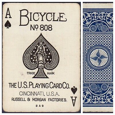Playing Cards 1 Swap Card Antique BICYCLE 808 US8c ACE OF SPADES - AUTOBIKE No.3