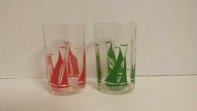 Vintage Swanky Swig Glasses Red And Green Sailboats Et Of 2 Vintage Juice Glasse