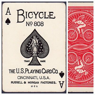 Playing Cards 1 Swap Card Antique BICYCLE 808 US8c ACE OF SPADES - CUPID