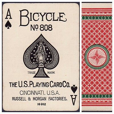 Playing Cards 1 Swap Card Antique BICYCLE 808 US8c ACE OF SPADES - CHAIN