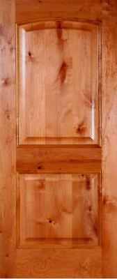"Pre-Hung or Slab 24""x80"" INTERIOR Knotty Alder 2 Panel Arched Wood Door (1-3/4"")"