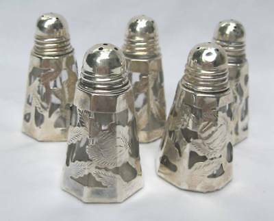 5 Taxco Mexico 925 Sterling Silver Overlay Salt & Pepper Shakers