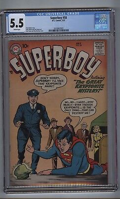 Superboy 58 (CGC 5.5) Cream pages; Silver Age; DC Comics; 1957 (c#16819)