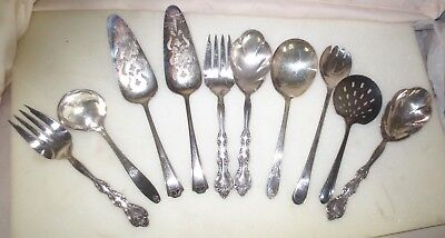 Lot Of 10 Vintage Sliverplate Flatware Serving Pieces (Various Makers)