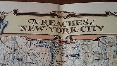 1939 National Geographic Map The Reaches of New York City  Hoen & Co Lithograph