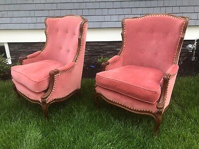 Pair Exceptional Carved French Bergere Chairs REDUCED