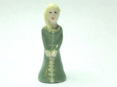 Dollhouse Miniature ceramic sculpture - Lady in green with blond hair