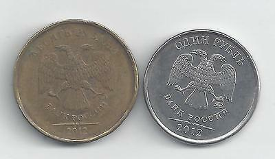 2 DIFFERENT COINS from RUSSIA - 1 & 10 ROUBLES (BOTH DATING 2012)